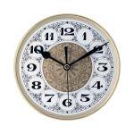 """5 7/8"""" Fancy Clock Insert with Gold Bezel"""
