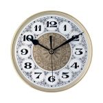 """7 7/8"""" Fancy Clock Insert with Gold Bezel"""