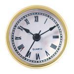 "2 9/16"" White Clock Insert with Gold Bezel"