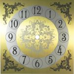 """7 1/4"""" Gold and Silver Metal Clock Dial"""